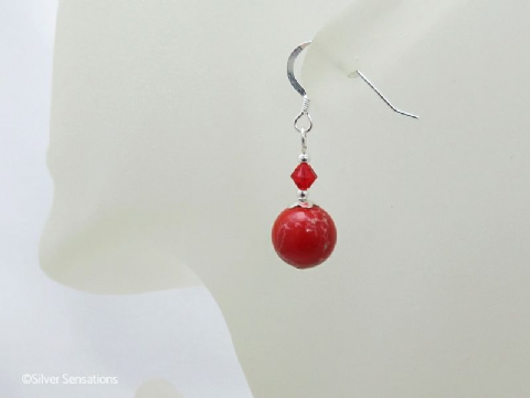 Tomato Red Impression Jasper & Sterling Silver Earrings With Swarovski Crystals